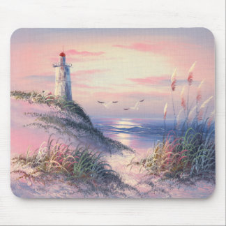 Painting Of A Lighthouse At Dawn Mouse Mat