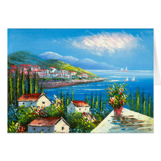 Painting Of A Mediterranean Seaside Village Card