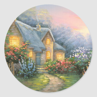 Painting Of A Rustic Fantasy Cottage Classic Round Sticker
