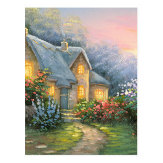 Painting Of A Rustic Fantasy Cottage Postcard