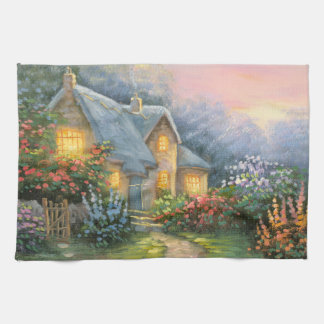 Painting Of A Rustic Fantasy Cottage Tea Towel