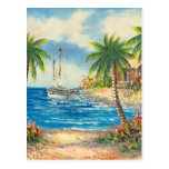 Painting Of A Sailboat In Hawaii Postcard