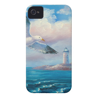 Painting Of A Seagull Flying Near A Lighthouse iPhone 4 Case-Mate Case