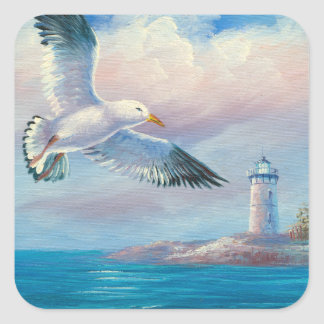 Painting Of A Seagull Flying Near A Lighthouse Square Sticker