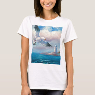Painting Of A Seagull Flying Near A Lighthouse T-Shirt