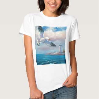 Painting Of A Seagull Flying Near A Lighthouse Tshirts