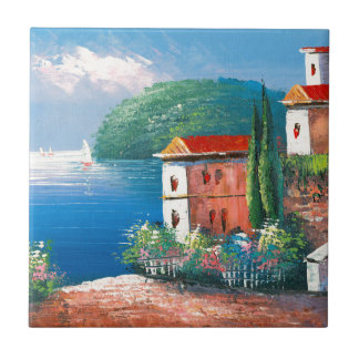 Painting Of A Seaside Villa In Italy Small Square Tile