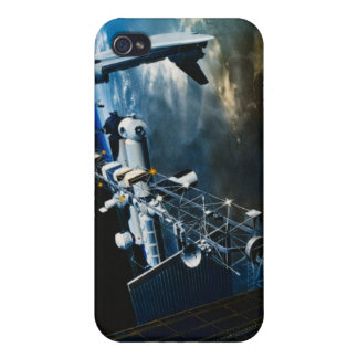 Painting of a Space Station Above Earth Cases For iPhone 4