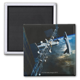 Painting of a Space Station Above Earth Magnet