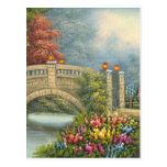 Painting Of A Walking Bridge Surrounded By Flowers