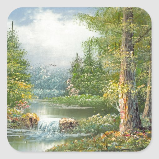 Painting Of A Wilderness River Square Sticker