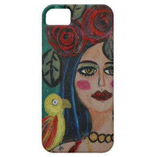 PAINTING OF A WOMAN WITH SMALL PARROT. CASE FOR THE iPhone 5