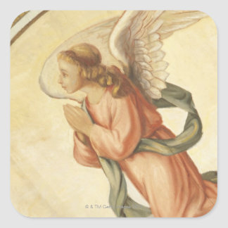 Painting of an angel praying square sticker