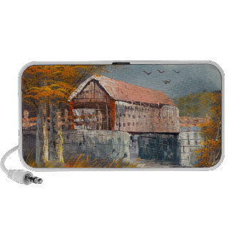 Painting Of An Old Pennsylvania Covered Bridge Mini Speakers