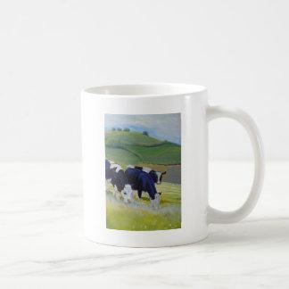Painting of black and white holstein friesian cows basic white mug