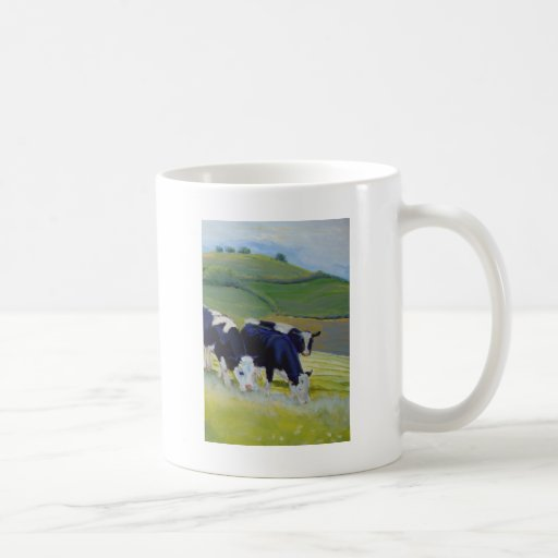 Painting of black and white holstein friesian cows mug
