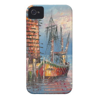 Painting Of Boats Tied To A Marina iPhone 4 Cover