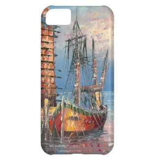 Painting Of Boats Tied To A Marina iPhone 5C Cases