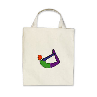 Painting of bow yoga pose. canvas bags