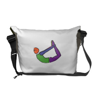 Painting of bow yoga pose. courier bags