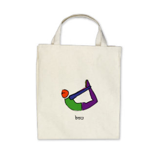 Painting of bow yoga pose with Sanskrit text. Tote Bag