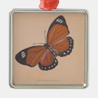 Painting of butterfly Silver-Colored square decoration