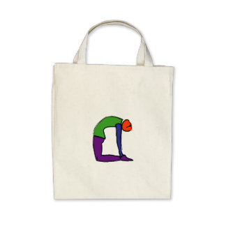 Painting of camel yoga pose. canvas bag
