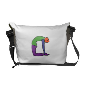 Painting of camel yoga pose. courier bag