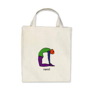 Painting of camel yoga pose with Sanskrit text Tote Bags
