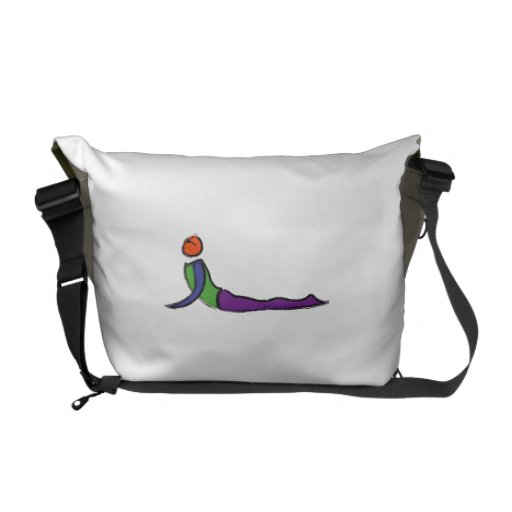 Painting of cobra yoga pose. courier bags