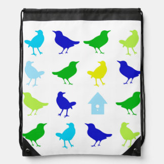 Painting of Colored Birds by Chariklia Zarris Drawstring Bag
