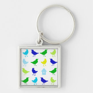 Painting of Colored Birds by Chariklia Zarris Key Ring