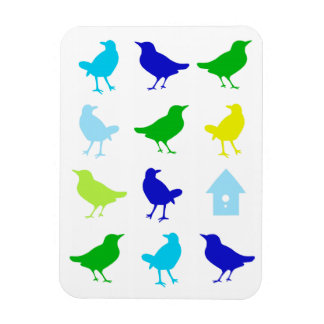 Painting of Colored Birds by Chariklia Zarris Rectangle Magnets