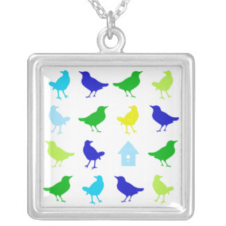 Painting of Colored Birds by Chariklia Zarris Silver Plated Necklace