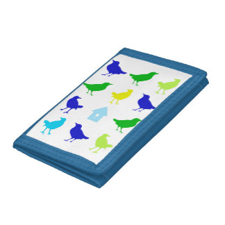 Painting of Colored Birds by Chariklia Zarris Trifold Wallets