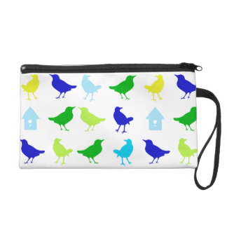 Painting of Colored Birds by Chariklia Zarris Wristlet