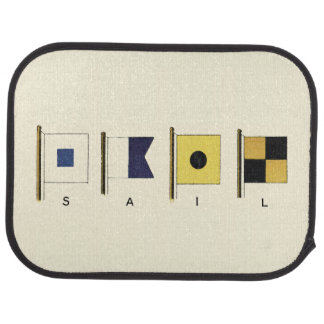Painting of Four Flags with Sail Written Beneath Floor Mat