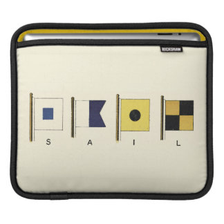 Painting of Four Flags with Sail Written Beneath iPad Sleeve