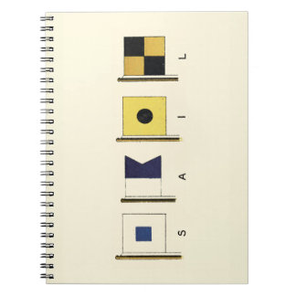 Painting of Four Flags with Sail Written Beneath Notebooks