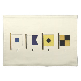 Painting of Four Flags with Sail Written Beneath Placemat