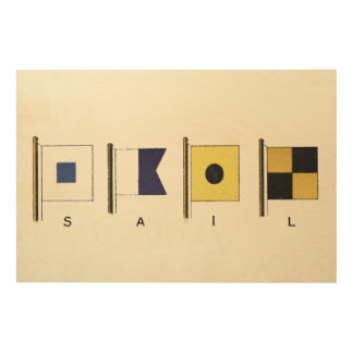Painting of Four Flags with Sail Written Beneath Wood Wall Art