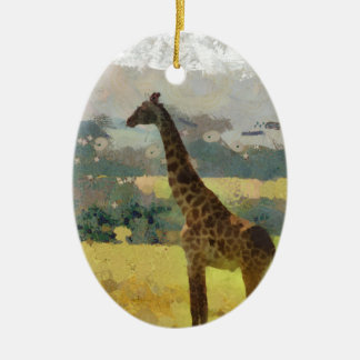Painting of Giraffe on the Savannah in Africa Ceramic Oval Decoration