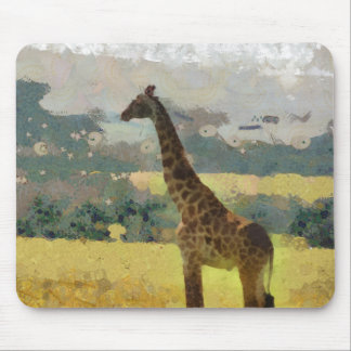 Painting of Giraffe on the Savannah in Africa Mouse Mat