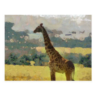 Painting of Giraffe on the Savannah in Africa Post Cards