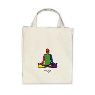 Painting of lotus yoga pose with yoga text. tote bags
