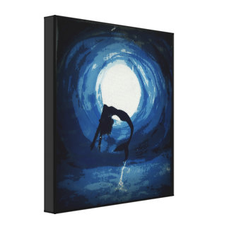 painting of mermaid jumping out from water canvas print