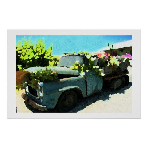 Painting Of Old time Pickup Truck Flower Planter I Poster