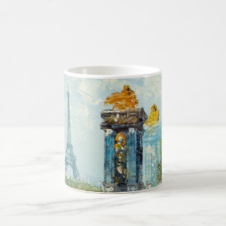 Painting Of Paris Eiffel Tower Scene Basic White Mug