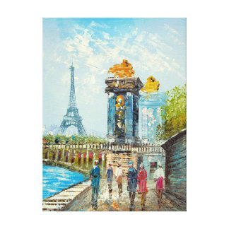 Painting Of Paris Eiffel Tower Scene Canvas Print