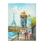 Painting Of Paris Eiffel Tower Scene Canvas Prints